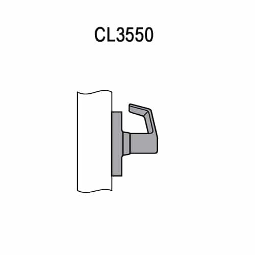 CL3550-PZD-625 Corbin CL3500 Series Heavy Duty Half Dummy Cylindrical Locksets with Princeton Lever in Bright Chrome