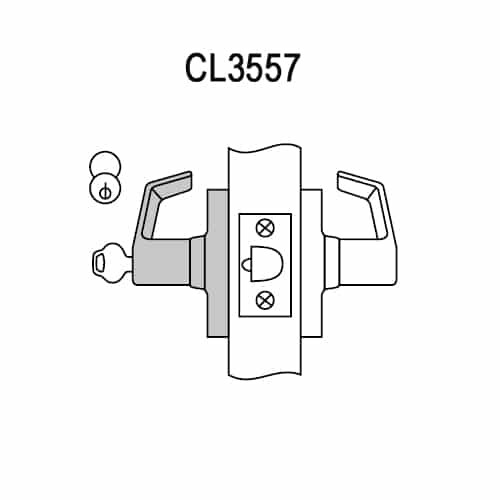 CL3557-AZD-619-CL7 Corbin CL3500 Series IC 7-Pin Less Core Heavy Duty Storeroom Cylindrical Locksets with Armstrong Lever in Satin Nickel Plated