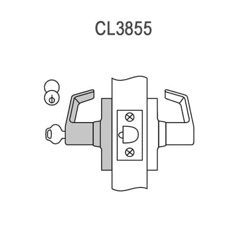 CL3855-NZD-626 Corbin CL3800 Series Standard-Duty Classroom Cylindrical Locksets with Newport Lever in Satin Chrome