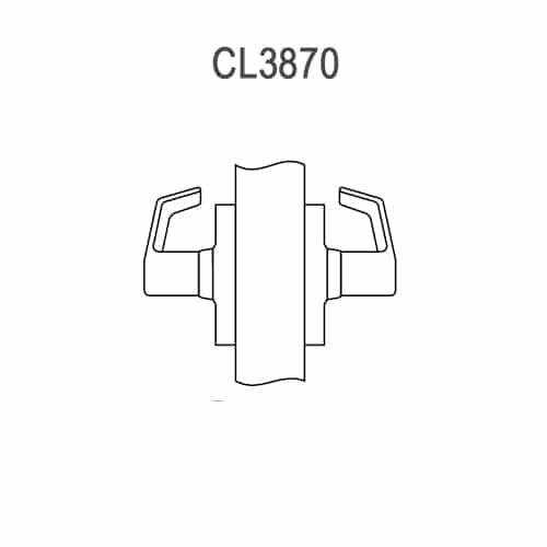 CL3870-AZD-626 Corbin CL3800 Series Standard-Duty Full Dummy Cylindrical Locksets with Armstrong Lever in Satin Chrome