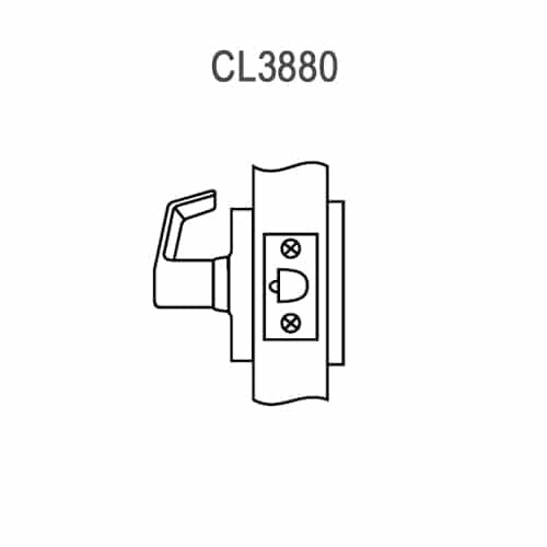 CL3880-AZD-626 Corbin CL3800 Series Standard-Duty Passage with Blank Plate Cylindrical Locksets with Armstrong Lever in Satin Chrome