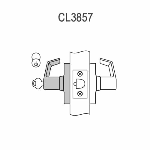 CL3857-NZD-626-CL7 Corbin CL3800 Series IC 7-Pin Less Core Standard-Duty Storeroom Cylindrical Locksets with Newport Lever in Satin Chrome