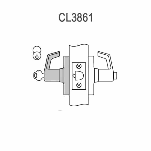 CL3861-AZD-626-CL7 Corbin CL3800 Series IC 7-Pin Less Core Standard-Duty Office Cylindrical Locksets with Armstrong Lever in Satin Chrome