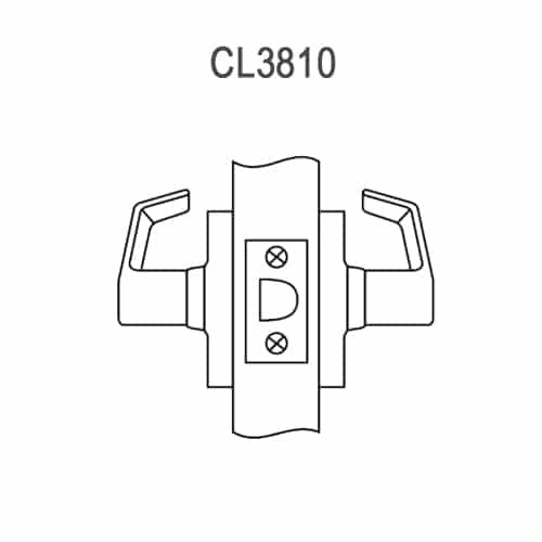 CL3810-PZD-625 Corbin CL3800 Series Standard-Duty Passage Cylindrical Locksets with Princeton Lever in Bright Chrome