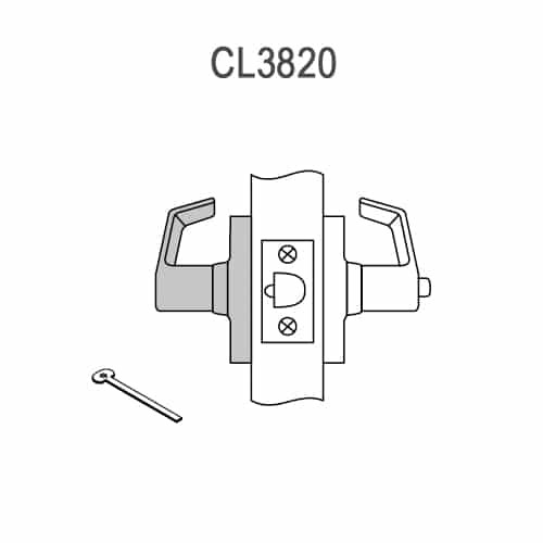 CL3820-PZD-606 Corbin CL3800 Series Standard-Duty Privacy Cylindrical Locksets with Princeton Lever in Satin Brass