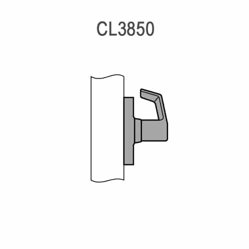 CL3850-PZD-625 Corbin CL3800 Series Standard-Duty Half Dummy Cylindrical Locksets with Princeton Lever in Bright Chrome