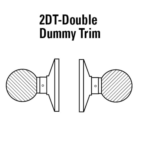 6K-02DT4C-611 Best 6K Series Double Dummy Trim Medium Duty Cylindrical Knob Locks with Round Style in Bright Bronze