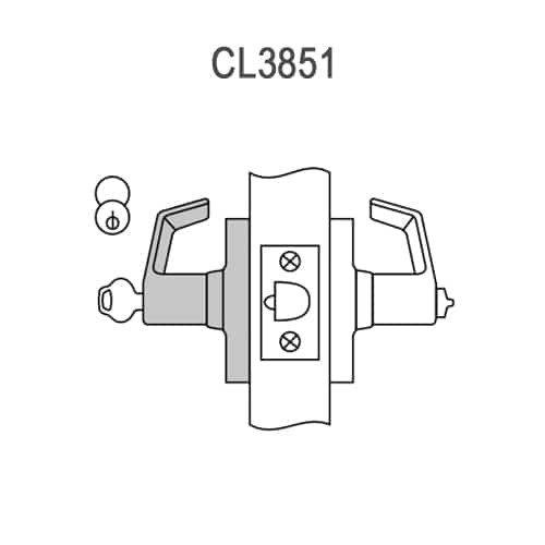CL3851-PZD-606-CL7 Corbin CL3800 Series IC 7-Pin Less Core Standard-Duty Entrance Cylindrical Locksets with Princeton Lever in Satin Brass