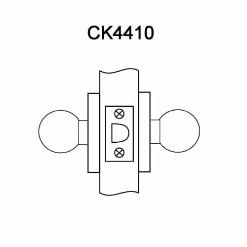 CK4410-GWC-605 Corbin CK4400 Series Standard-Duty Passage Cylindrical Locksets with Global Knob in Bright Brass