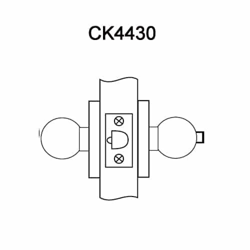 CK4430-GWC-605 Corbin CK4400 Series Standard-Duty Privacy Cylindrical Locksets with Global Knob in Bright Brass