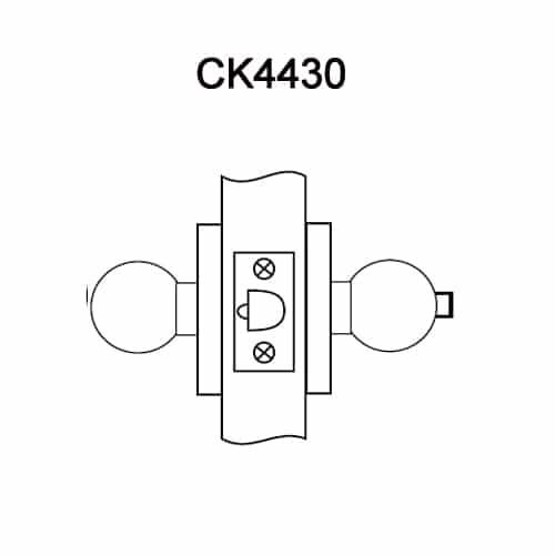 CK4430-GWC-612 Corbin CK4400 Series Standard-Duty Privacy Cylindrical Locksets with Global Knob in Satin Bronze