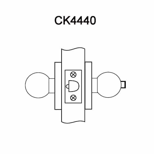 CK4440-GWC-629 Corbin CK4400 Series Standard-Duty Patio Cylindrical Locksets with Global Knob in Bright Stainless Steel