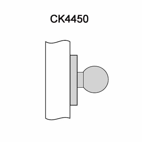 CK4450-GWC-605 Corbin CK4400 Series Standard-Duty Half Dummy Cylindrical Locksets with Global Knob in Bright Brass