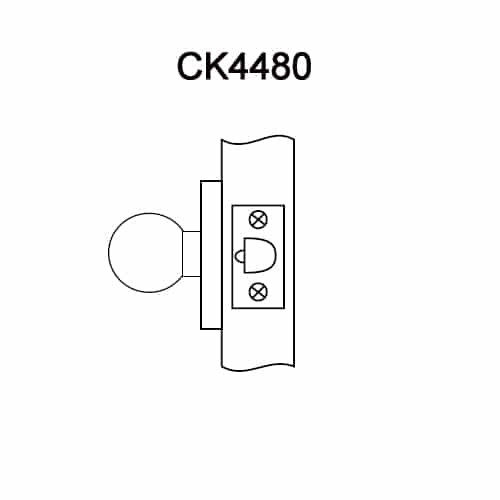 CK4480-GWC-605 Corbin CK4400 Series Standard-Duty Communicating Cylindrical Locksets with Global Knob in Bright Brass
