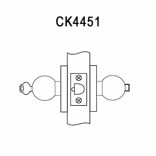 CK4451-GWC-612 Corbin CK4400 Series Standard-Duty Entrance Cylindrical Locksets with Global Knob in Satin Bronze
