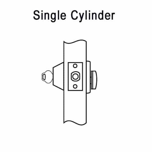 DL2213-606 Corbin DL2200 Series Cylindrical Deadlocks with Single Cylinder in Satin Brass