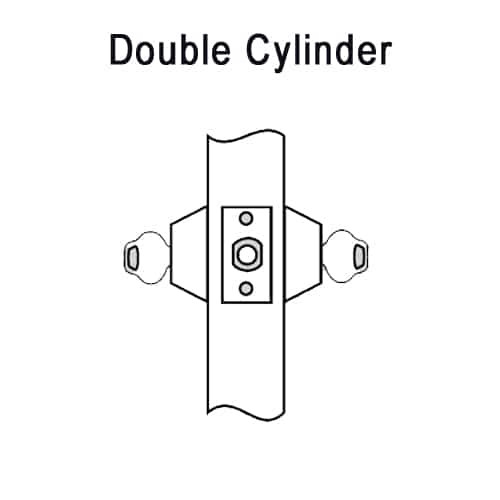 DL2212-605 Corbin DL2200 Series Cylindrical Deadlocks with Double Cylinder in Bright Brass