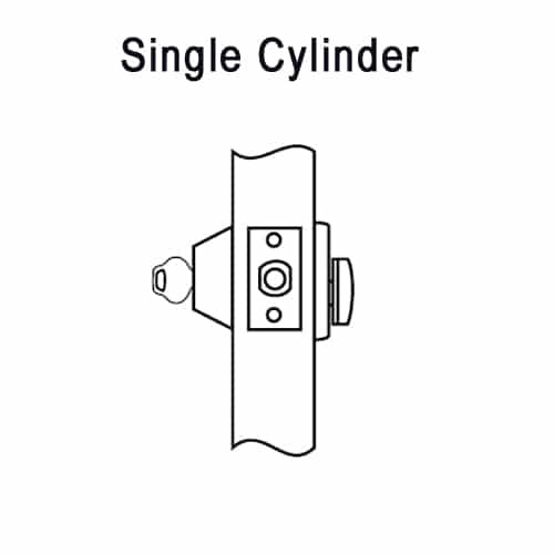 DL2213-605-CL7 Corbin DL2200 Series IC 7-Pin Less Core Cylindrical Deadlocks with Single Cylinder in Bright Brass