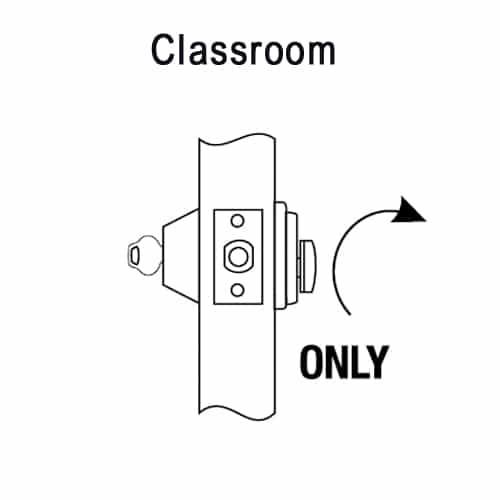 DL3217-626-CL6 Corbin DL3200 Series Classroom Cylindrical Deadlocks with Single Cylinder in Satin Chrome