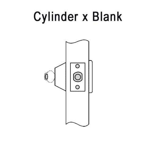 DL3211-605-CL7 Corbin DL3200 Series IC 7-Pin Less Core Cylindrical Deadlocks with Single Cylinder w/ Blank Plate in Bright Brass