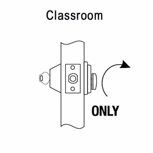 DL3017-625-LH-CL6 Corbin DL3000 Series IC 6-Pin Less Core Classroom Cylindrical Deadlocks with Single Cylinder in Bright Chrome