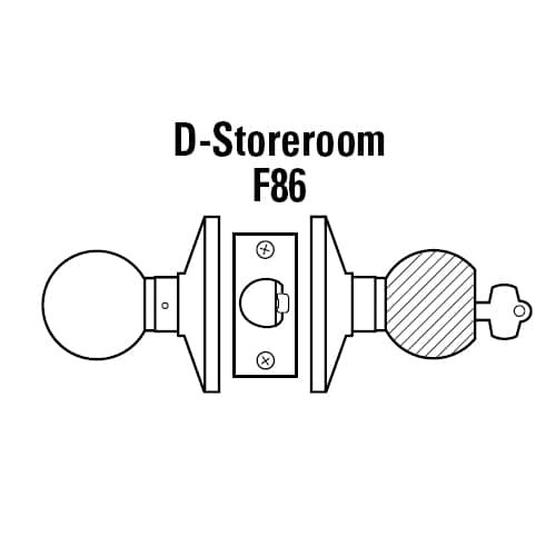 6K37D6CS3626 Best 6K Series Medium Duty Storeroom Cylindrical Knob Locks with Tulip Knob Style in Satin Chrome