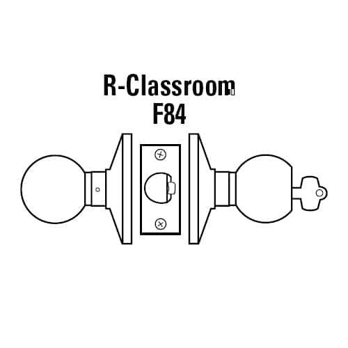 6K37R4DS3612 Best 6K Series Medium Duty Classroom Cylindrical Knob Locks with Round Style in Satin Bronze