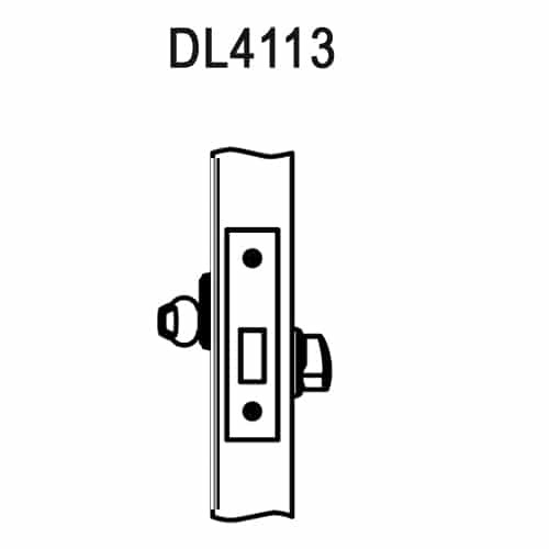 DL4113-618-CL6 Corbin DL4100 Series IC 6-Pin Less Core Mortise Deadlocks with Single Cylinder in Bright Nickel