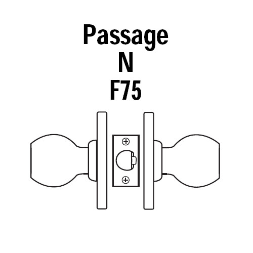 8K30N4AS3605 Best 8K Series Passage Heavy Duty Cylindrical Knob Locks with Round Style in Bright Brass