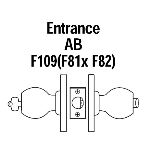 8K37AB4DS3625 Best 8K Series Entrance Heavy Duty Cylindrical Knob Locks with Round Style in Bright Chrome