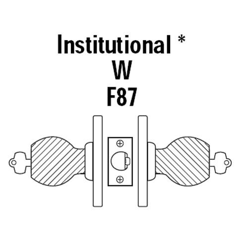 8K37W4CS3625 Best 8K Series Institutional Heavy Duty Cylindrical Knob Locks with Round Style in Bright Chrome