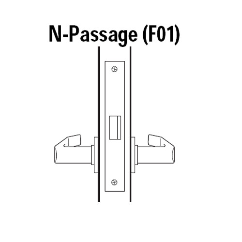 45H0N14R618 Best 40H Series Passage Heavy Duty Mortise Lever Lock with Curved with Return Style in Bright Nickel