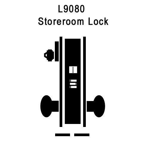 L9080P-06A-626 Schlage L Series Storeroom Commercial Mortise Lock with 06 Cast Lever Design in Satin Chrome