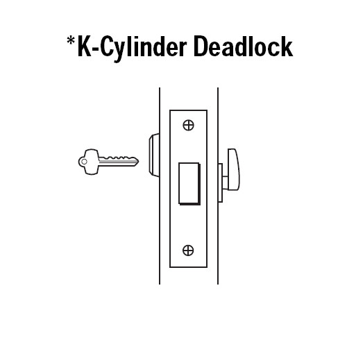 48H7K618 Best 48H Series Single Cylinder with Thumbturn Mortise Deadlocks in Bright Nickel