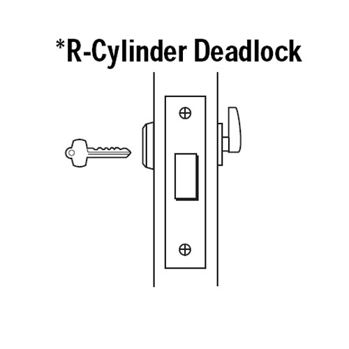 48H7R605-LH Best 48H Series Single Cylinder Classroom Mortise Deadlocks in Bright Brass