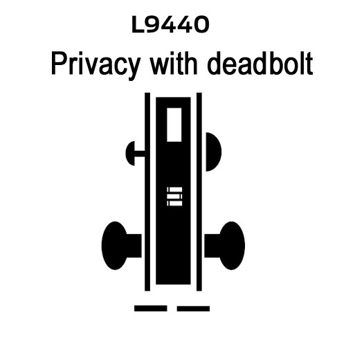 L9440-02B-619 Schlage L Series Privacy with Deadbolt Commercial Mortise Lock with 02 Cast Lever Design in Satin Nickel