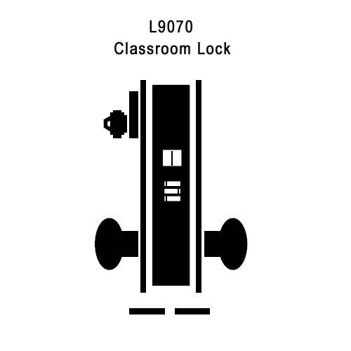 L9070L-06B-626 Schlage L Series Less Cylinder Classroom Commercial Mortise Lock with 06 Cast Lever Design in Satin Chrome