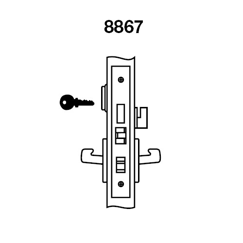 AUR8867FL-605 Yale 8800FL Series Single Cylinder with Deadbolt Mortise Dormitory or Exit Lock with Indicator with Augusta Lever in Bright Brass