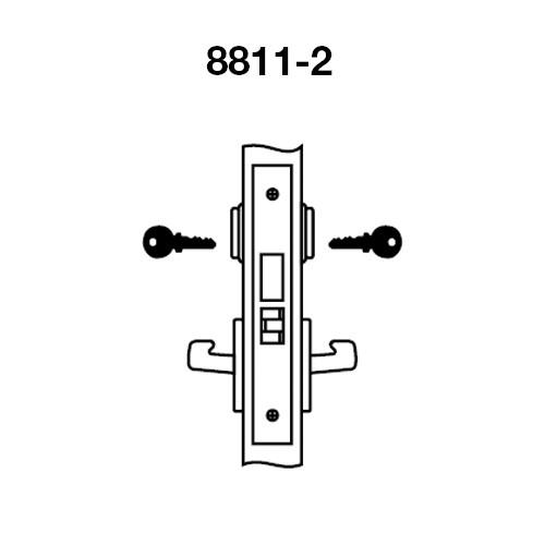 AUR8811-2FL-606 Yale 8800FL Series Double Cylinder Mortise Classroom Deadbolt Locks with Augusta Lever in Satin Brass