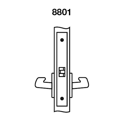 AUR8801FL-618 Yale 8800FL Series Non-Keyed Mortise Passage Locks with Augusta Lever in Bright Nickel