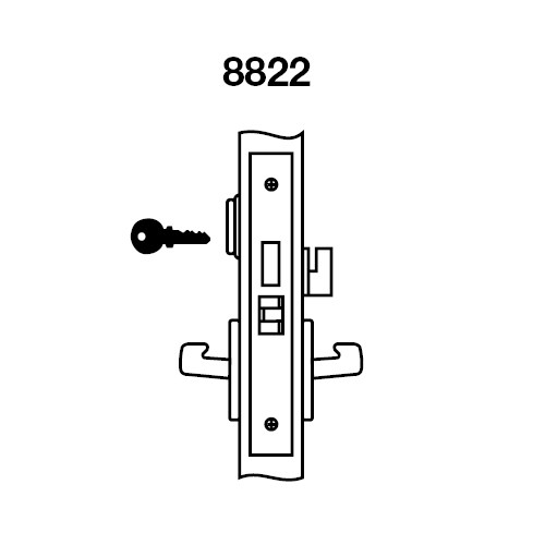 PBR8822FL-629 Yale 8800FL Series Single Cylinder with Deadbolt Mortise Bathroom Lock with Indicator with Pacific Beach Lever in Bright Stainless Steel