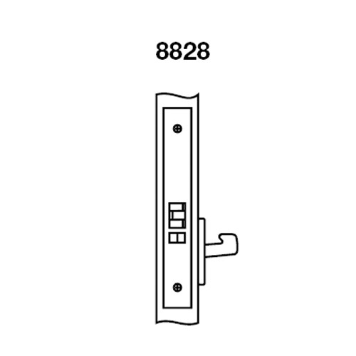 PBR8828FL-618 Yale 8800FL Series Non-Keyed Mortise Exit Locks with Pacific Beach Lever in Bright Nickel