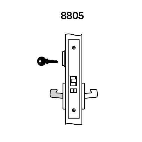 CRR8805FL-629 Yale 8800FL Series Single Cylinder Mortise Storeroom/Closet Locks with Carmel Lever in Bright Stainless Steel