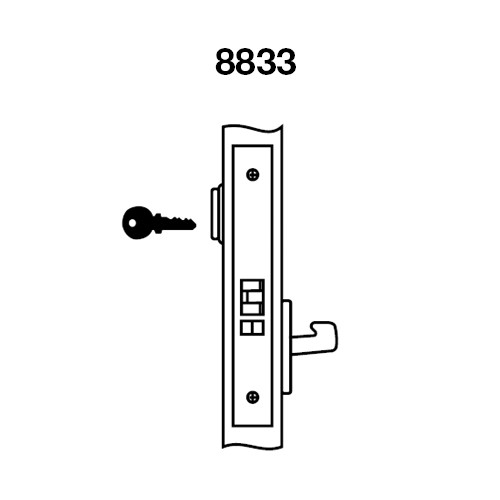 CRR8833FL-618 Yale 8800FL Series Single Cylinder Mortise Exit Locks with Carmel Lever in Bright Nickel