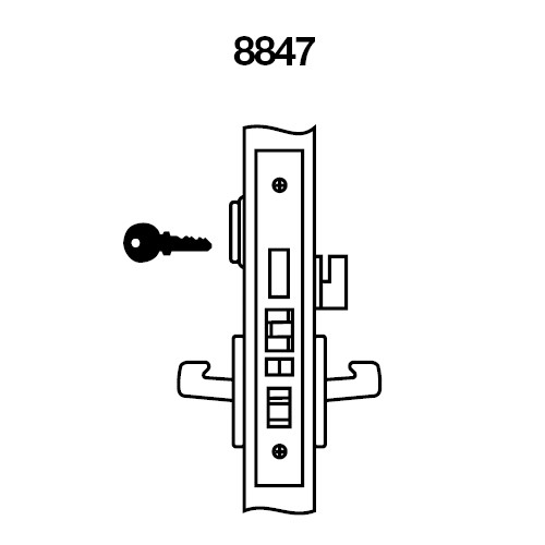 CRR8847FL-606 Yale 8800FL Series Single Cylinder with Deadbolt Mortise Entrance Lock with Indicator with Carmel Lever in Satin Brass