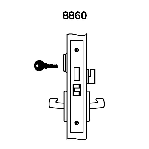 CRR8860FL-629 Yale 8800FL Series Single Cylinder with Deadbolt Mortise Entrance or Storeroom Lock with Indicator with Carmel Lever in Bright Stainless Steel