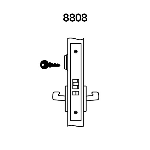 MOR8808FL-618 Yale 8800FL Series Single Cylinder Mortise Classroom Locks with Monroe Lever in Bright Nickel