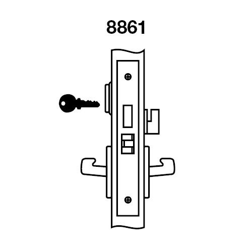 MOR8861FL-618 Yale 8800FL Series Single Cylinder with Deadbolt Mortise Dormitory or Storeroom Lock with Indicator with Monroe Lever in Bright Nickel