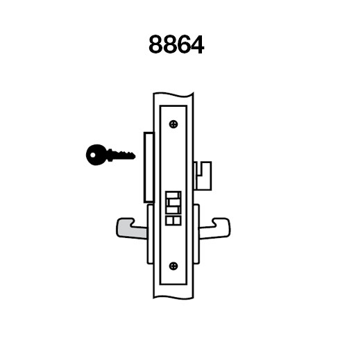 PNR8864FL-629 Yale 8800FL Series Single Cylinder Mortise Bathroom Lock with Indicator with Pinehurst Lever in Bright Stainless Steel