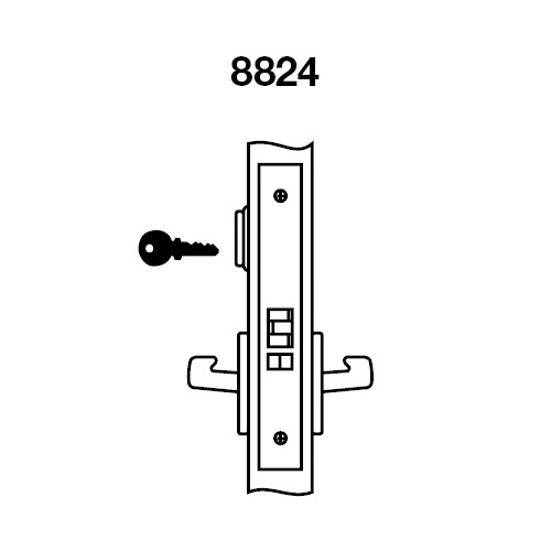 AUCN8824FL-618 Yale 8800FL Series Single Cylinder Mortise Hold Back Locks with Augusta Lever in Bright Nickel